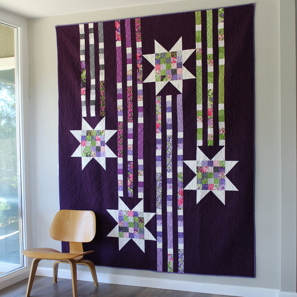 SHOWERING STARS (printed booklet) Quilt Pattern by Robin Pickens / Twin size / Easy Quick Quilt / Jelly Roll Precut