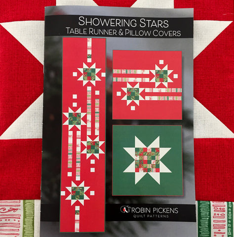 Showering Stars Table Runner and Pillow Covers Printed Quilt Pattern- Printed Booklet