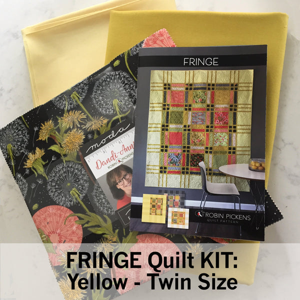 FRINGE QUILT KIT with Dandi Annie Fabric, Yellow background, Twin 68 x 83""