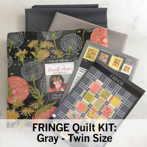 FRINGE QUILT KIT with Dandi Annie Fabric, Gray background, Twin 68 x 83""