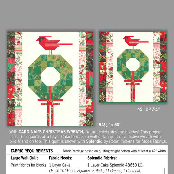 Digital Pdf Quilt Pattern of CARDINALS CHRISTMAS WREATH in Large or Medium Wall Sizes by Robin Pickens- Layer Cake friendly