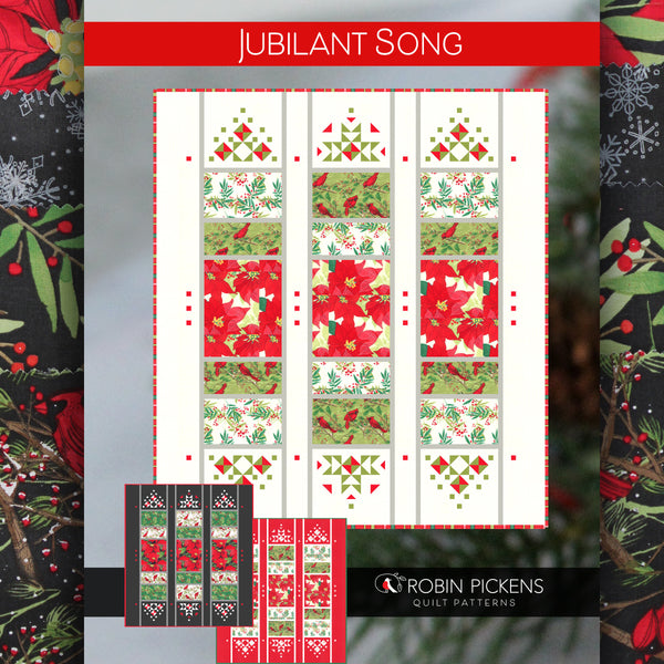 JUBILANT SONG Printed Quilt Pattern by Robin Pickens- Christmas or Elegant Lap Quilt