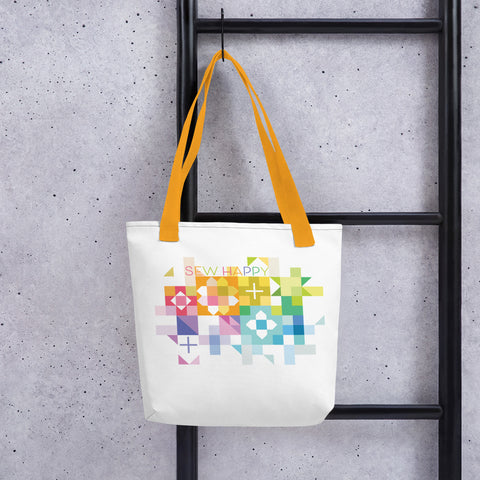 Tote Bag with Sew Happy words and Rainbow quilt blocks from Robin Pickens