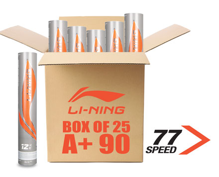 LI-NING A+90 BUNDLE OF 25 BADMINTON SHUTTLECOCKS A+ 90