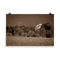 Abandoned Barn In The Trees Sepia Landscape Photo Loose Wall Art Prints