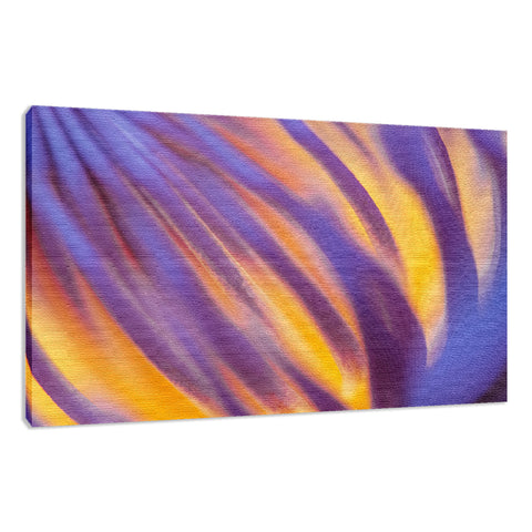 Purple and Yellow Lotus Flower Filaments - Floral Nature Photo Fine Art Canvas Print