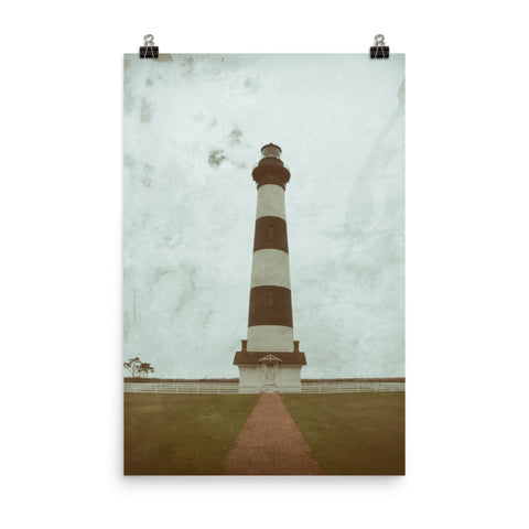 Aged Colorized Bodie Island Lighthouse Landscape Photo Loose Wall Art Print