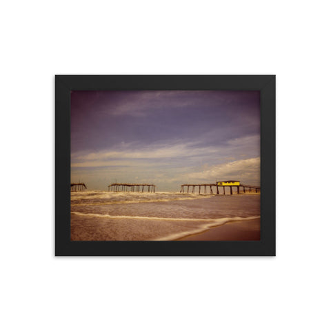 Aged View of Frisco Pier Coastal Framed Photo Paper Wall Art Prints