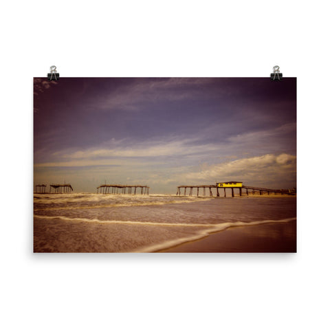 Aged View of the Frisco Pier Landscape Photo Loose Wall Art Prints