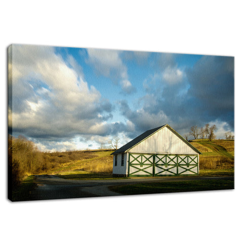Aging Barn in the Morning Sun Rural Landscape Fine Art Canvas Wall Art Prints