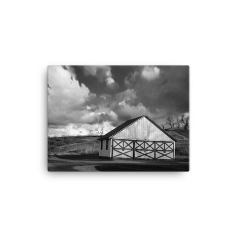 Aging Barn in the Morning Sun Black and White Canvas Wall Art Prints