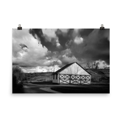 Aging Barn in the Morning Sun Black and White Loose Wall Art Prints