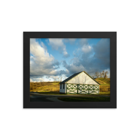 Aging Barn in the Morning Sun Rural Landscape Framed Photo Paper Wall Art Prints