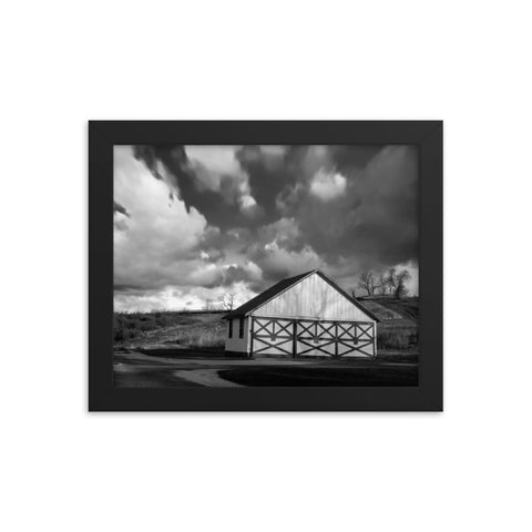 Aging Barn in the Morning Sun in Black and White Framed Photo Paper Wall Art Prints