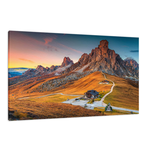 Majestic Sunset & Alpine Mountain Pass Landscape Fine Art Canvas Wall Art Prints