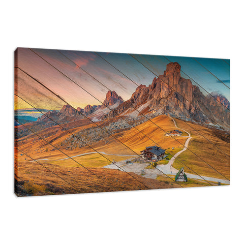 Faux Wood Majestic Sunset & Alpine Mountain Landscape Fine Art Canvas Wall Art Prints
