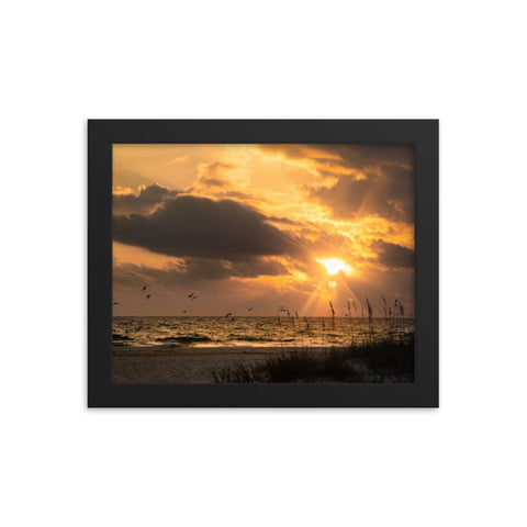 Anna Maria Island Cloudy Beach Sunset 1 Coastal Landscape Framed Photo Paper Wall Art Prints