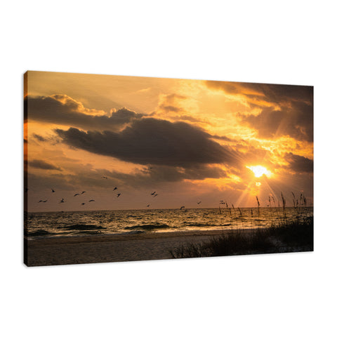 Anna Maria Island Cloudy Beach Sunset 1 Coastal Landscape Fine Art Canvas Prints