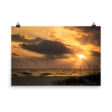 Anna Maria Island Cloudy Beach Sunset 1 Loose Wall Art Prints