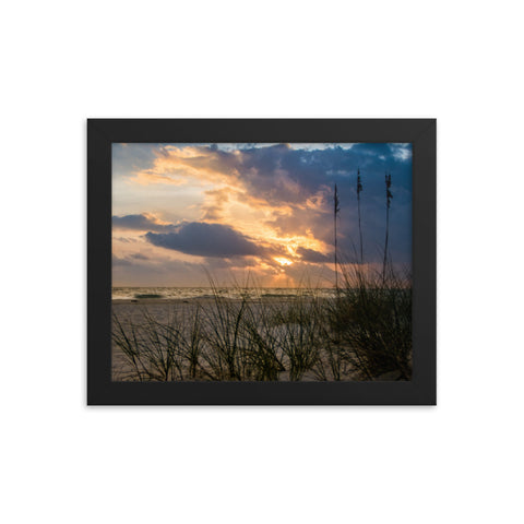 Anna Maria Island Cloudy Beach Sunset 2 Coastal Landscape Framed Photo Paper Wall Art Prints