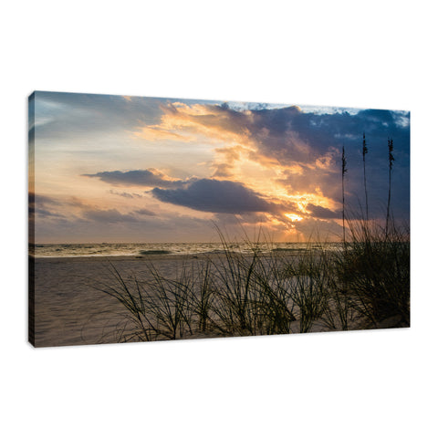 Anna Maria Island Cloudy Beach Sunset 2 Coastal Landscape Fine Art Canvas Wall Art Prints