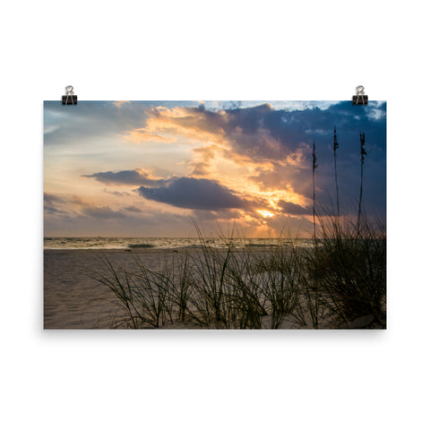 Anna Maria Island Cloudy Beach Sunset 2 Loose Wall Art Prints