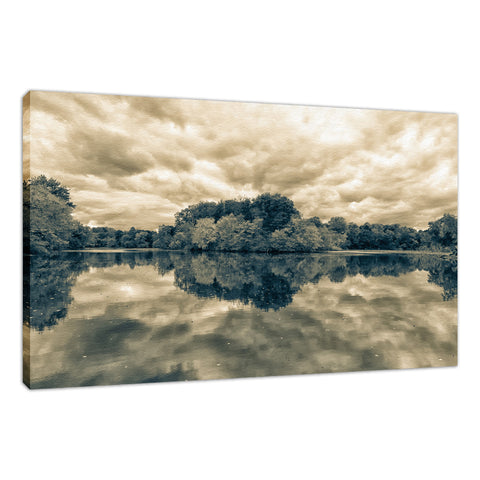 Autumn Reflections Split Toned Landscape Fine Art Canvas Wall Art Prints