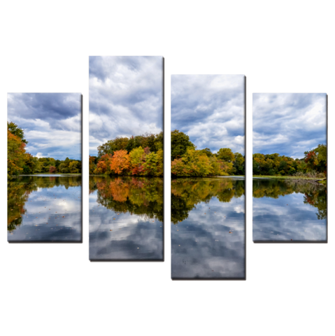 Autumn Reflections 4 Piece Panels Canvas Prints Wall Art - Asymmetrical