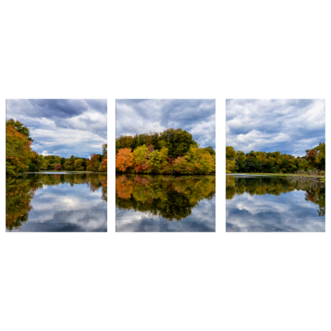 Autumn Reflections (Color) 3 Piece Panels Canvas Prints Wall Art - Symmetrical