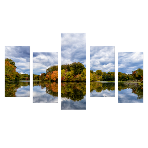 Autumn Reflections (Color) 5 Piece Panels Canvas Prints Wall Art - Asymmetrical