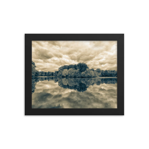 Autumn Reflections Rural Landscape Sepia Framed Photo Paper Wall Art Prints