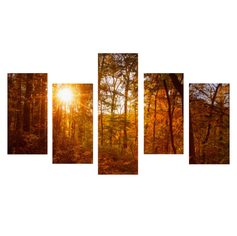 Autumn Sunset 5 Piece Panels Canvas Prints Wall Art - Asymmetrical