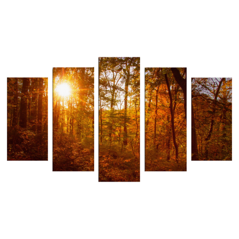 Autumn Sunset 5 Piece Panels Canvas Prints Wall Art - Symmetrical