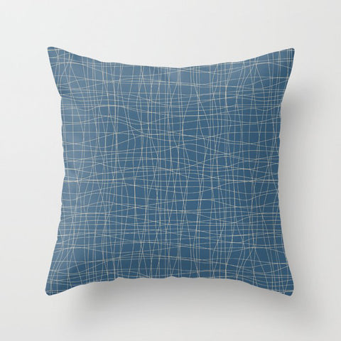 Beige Hand Drawn Abstract Mosaic Grid Pattern on Blue - 2020 Color of the Year Chinese Porcelain Throw Pillow