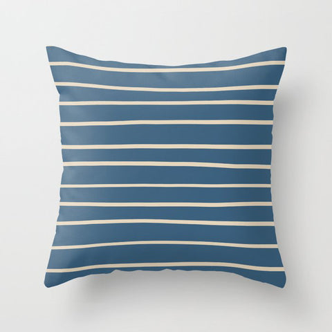 Beige Hand Drawn Horizontal Lines on Blue Pairs To 2020 Color of the Year Chinese Porcelain Throw Pillow