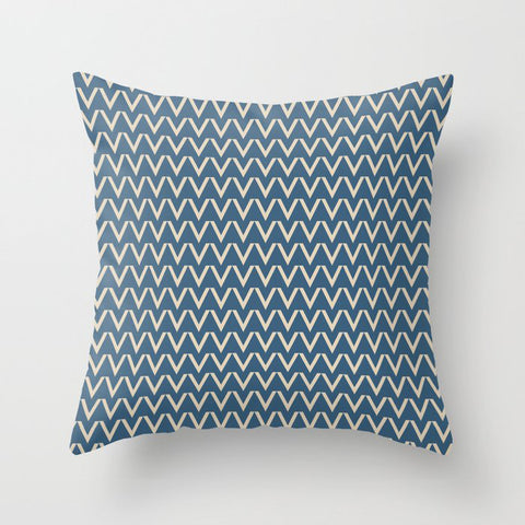 Beige V Chevron Pattern on Blue Pair To 2020 Color of the Year Chinese Porcelain PPG1160-6 Throw Pillow