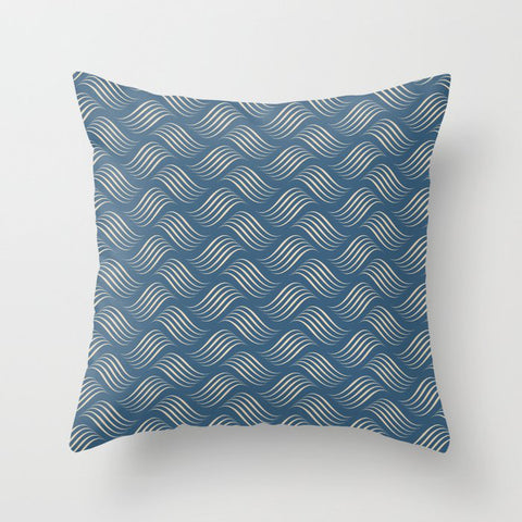 Beige Wavy Tessellation Lines on Dark Tropical Blue Pair To 2020 Color of the Year Chinese Porcelain Throw Pillow