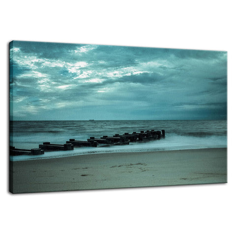 Blue Morning at Rehoboth Coastal Landscape Photo Fine Art Canvas Wall Art Prints