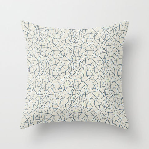 Blue Abstract Crescent Shape Pattern on Linen White - 2020 Color of the Year Chinese Porcelain Throw Pillow