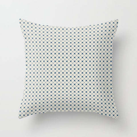 Blue Angled Polka Dot Grid Line Pattern on Linen White - 2020 Color of the Year Chinese Porcelain Throw Pillow