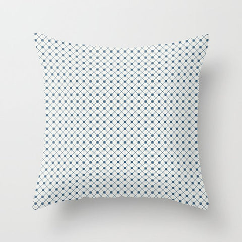 Blue Angled Polka Dot Grid Line Pattern on Off White - 2020 Color of the Year Chinese Porcelain Throw Pillow