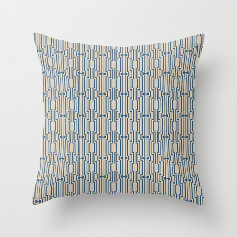 Blue Art Deco Pattern 1 on Beige Inspired by Oatmeal 2020 Color of the Year Chinese Porcelain Throw Pillow