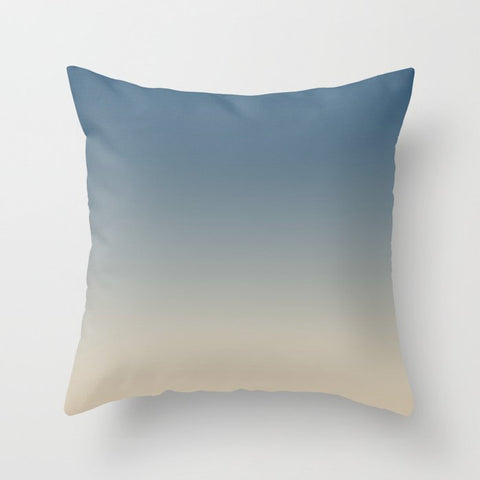 Blue & Beige Gradient Ombre Blend Inspired by Chinese Porcelain PPG1160-6 & Alpaca Wool PPG14-19 Throw Pillow