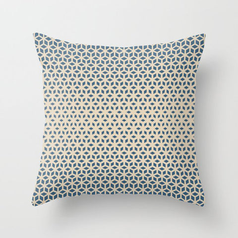 Blue & Beige Gradient Tessellation Cubism Pattern Inspired by Chinese Porcelain PPG1160-6 Throw Pillow