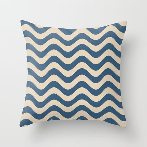 Blue & Beige Rippled Stripes, Wavy Line Pattern Pairs To 2020 Color of the Year Chinese Porcelain Throw Pillow