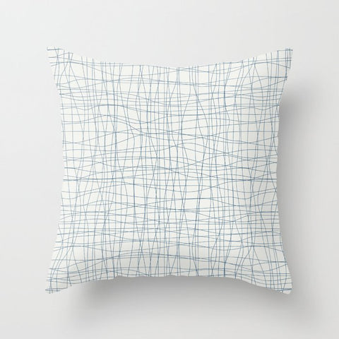 Blue Hand Drawn Abstract Mosaic Pattern on Off White - 2020 Color of the Year Chinese Porcelain Throw Pillow