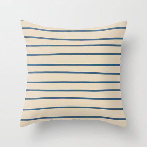 Blue Hand Drawn Horizontal Lines on Beige Pairs To 2020 Color of the Year Chinese Porcelain Throw Pillow