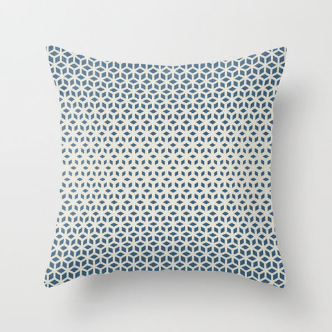 Blue & Linen Off White Gradient Tessellation Cubism Pattern Inspired by Chinese Porcelain PPG1160-6 Throw Pillow