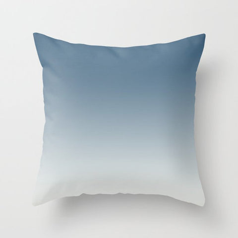 Blue & Linen White Gradient Ombre Blend Inspired by 2020 Color of the Year Chinese Porcelain PPG1160 Throw Pillow