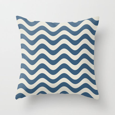 Blue & Linen White Wavy Line Pattern Pairs To 2020 Color of the Year Chinese Porcelain Throw Pillow